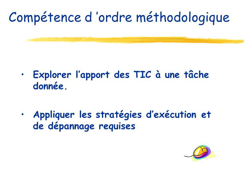 Explorer lapport des TIC à une tâche donnée. Appliquer les stratégies dexécution et de dépannage requises Compétence d ordre méthodologique