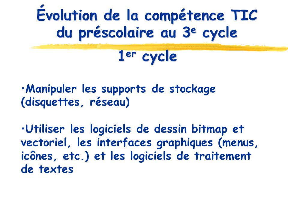 1 er cycle 1 er cycle Manipuler les supports de stockage (disquettes, réseau) Utiliser les logiciels de dessin bitmap et vectoriel, les interfaces graphiques (menus, icônes, etc.) et les logiciels de traitement de textes Évolution de la compétence TIC du préscolaire au 3 e cycle