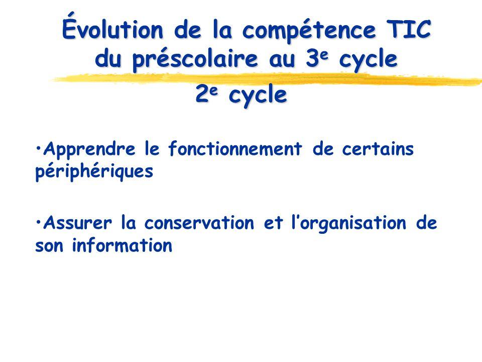 2 e cycle Apprendre le fonctionnement de certains périphériques Assurer la conservation et lorganisation de son information Évolution de la compétence TIC du préscolaire au 3 e cycle