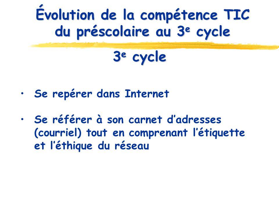 3 e cycle Se repérer dans Internet Se référer à son carnet dadresses (courriel) tout en comprenant létiquette et léthique du réseau Évolution de la compétence TIC du préscolaire au 3 e cycle