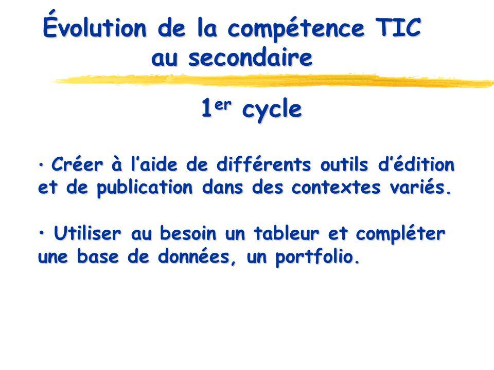 Évolution de la compétence TIC au secondaire 1 er cycle Créer à laide de différents outils dédition et de publication dans des contextes variés. Créer