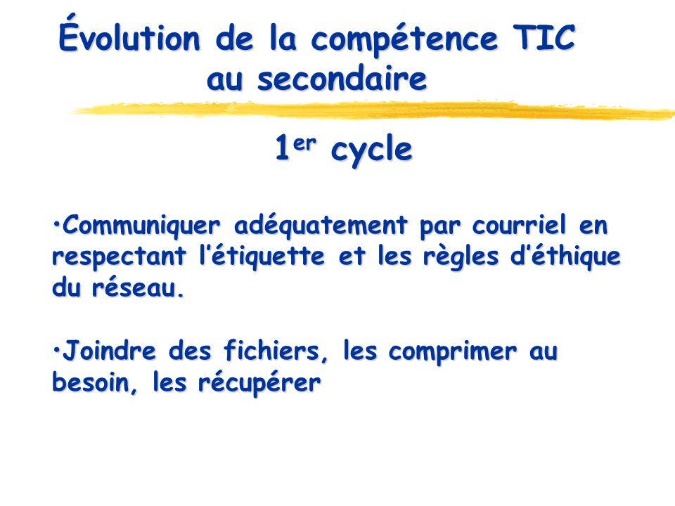 Évolution de la compétence TIC au secondaire 1 er cycle Communiquer adéquatement par courriel en respectant létiquette et les règles déthique du résea