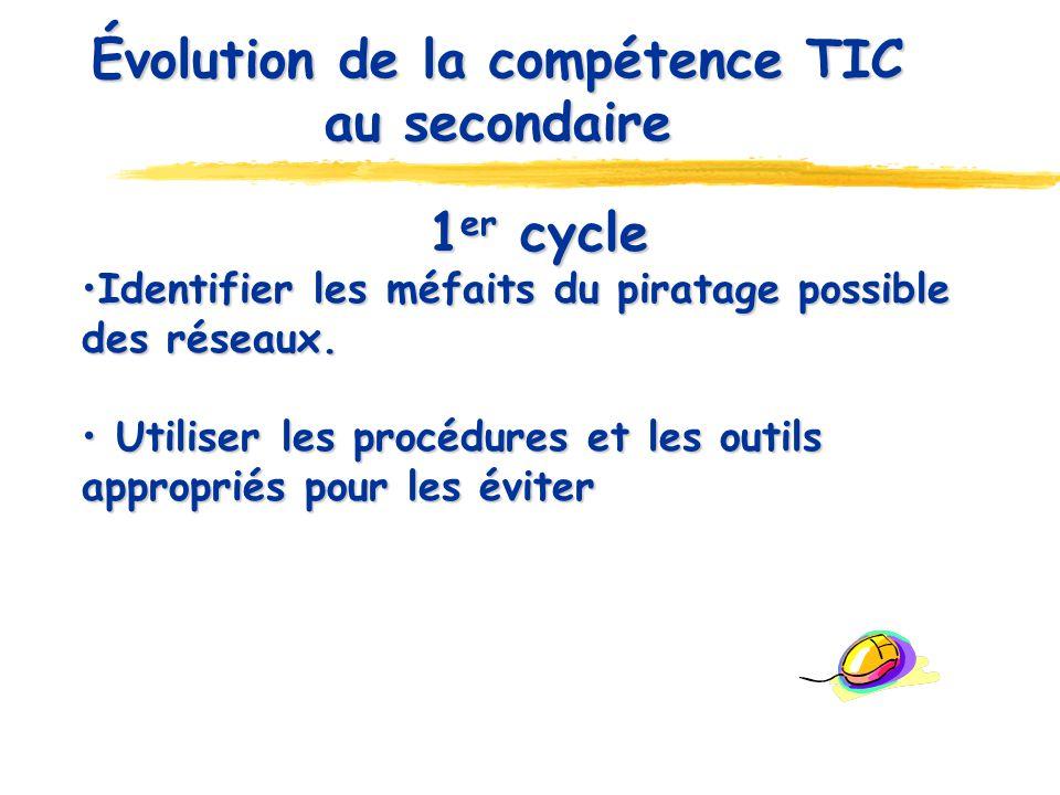 Évolution de la compétence TIC au secondaire 1 er cycle Identifier les méfaits du piratage possible des réseaux. Identifier les méfaits du piratage po