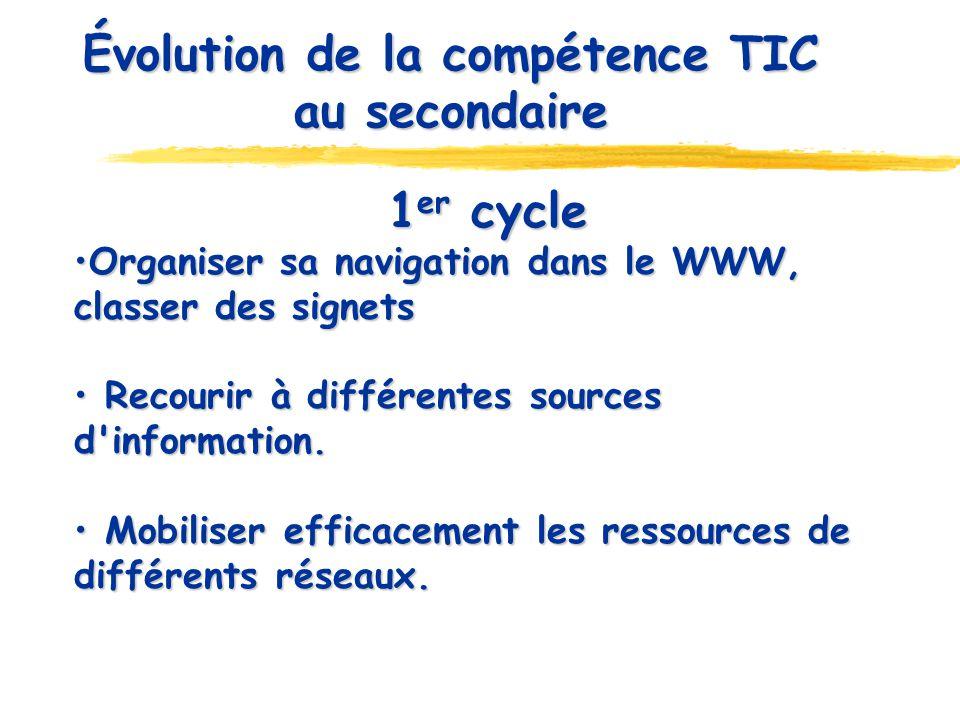Évolution de la compétence TIC au secondaire 1 er cycle Organiser sa navigation dans le WWW, classer des signets Organiser sa navigation dans le WWW, classer des signets Recourir à différentes sources d information.