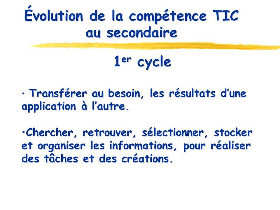 Évolution de la compétence TIC au secondaire 1 er cycle Transférer au besoin, les résultats dune application à lautre. Transférer au besoin, les résul