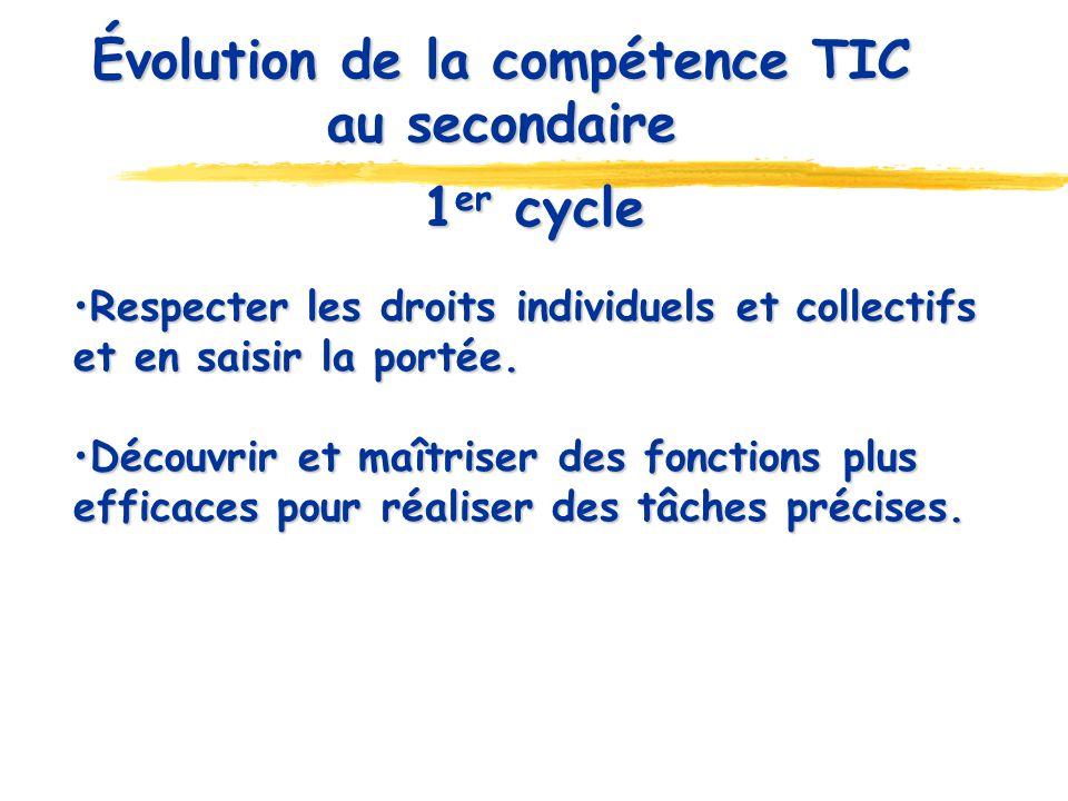 Évolution de la compétence TIC au secondaire 1 er cycle Respecter les droits individuels et collectifs et en saisir la portée. Respecter les droits in