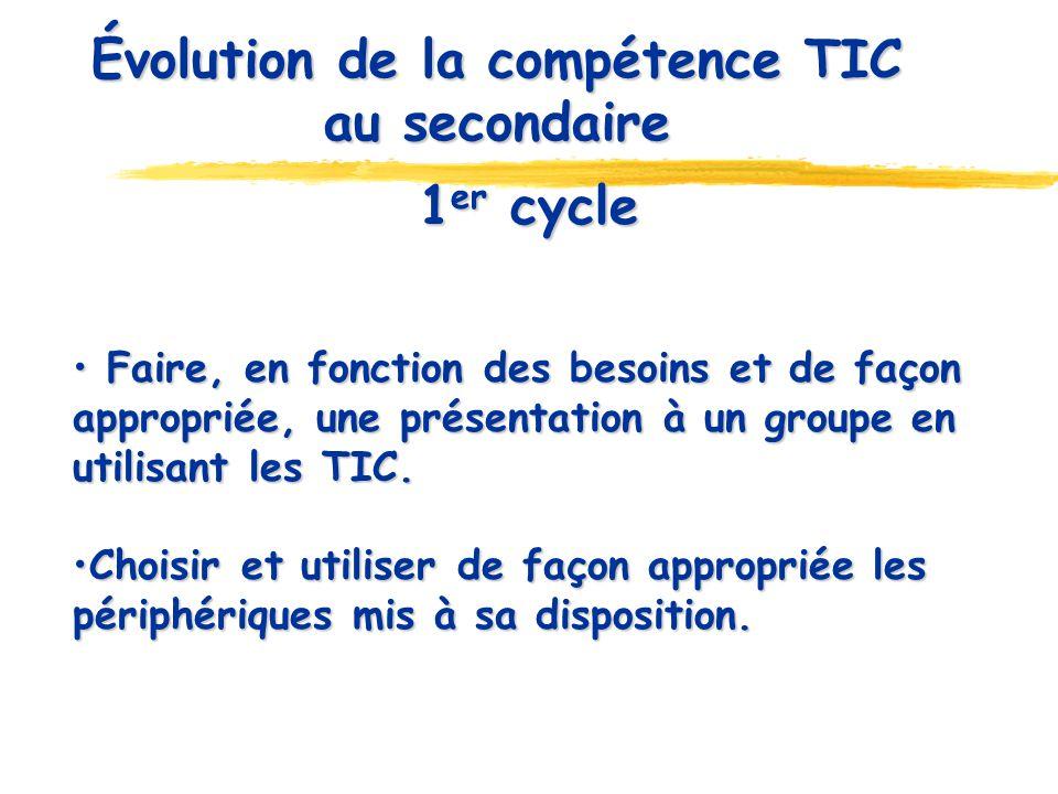 Évolution de la compétence TIC au secondaire 1 er cycle Faire, en fonction des besoins et de façon appropriée, une présentation à un groupe en utilisa