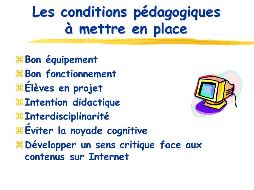 Les conditions pédagogiques à mettre en place Bon équipement Bon fonctionnement Élèves en projet Intention didactique Interdisciplinarité Éviter la no