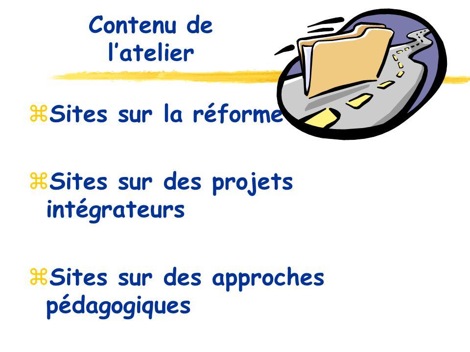 Sites sur la réforme Sites sur des projets intégrateurs Sites sur des approches pédagogiques Contenu de latelier