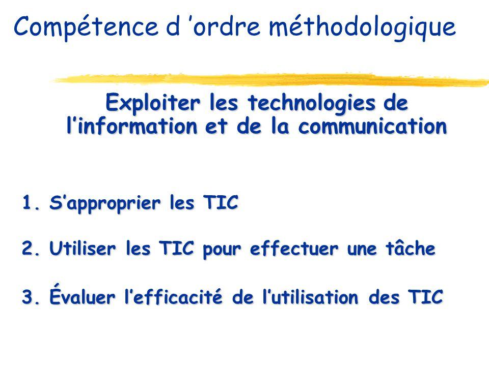 Exploiter les technologies de linformation et de la communication 1. Sapproprier les TIC 2. Utiliser les TIC pour effectuer une tâche 3. Évaluer leffi