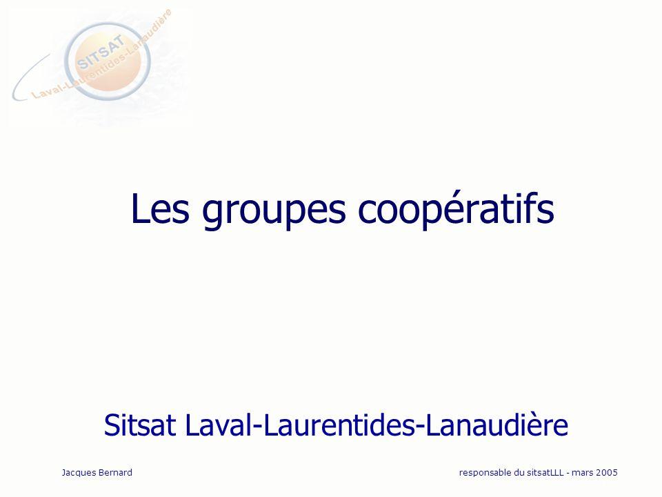 Les groupes coopératifs Sitsat Laval-Laurentides-Lanaudière Jacques Bernardresponsable du sitsatLLL - mars 2005