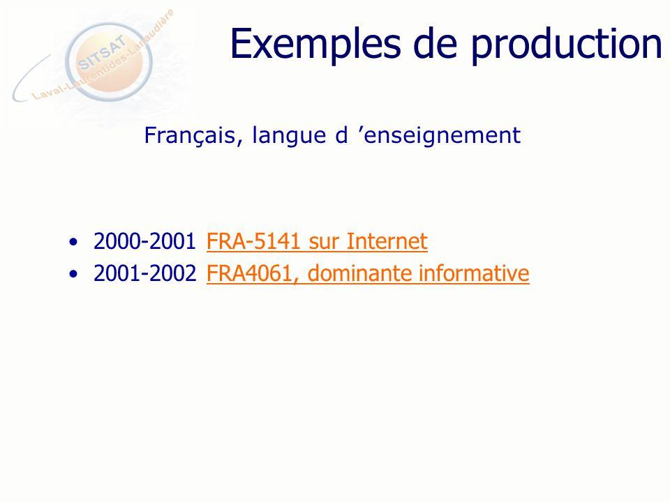 Exemples de production 2000-2001 FRA-5141 sur InternetFRA-5141 sur Internet 2001-2002 FRA4061, dominante informativeFRA4061, dominante informative Français, langue d enseignement