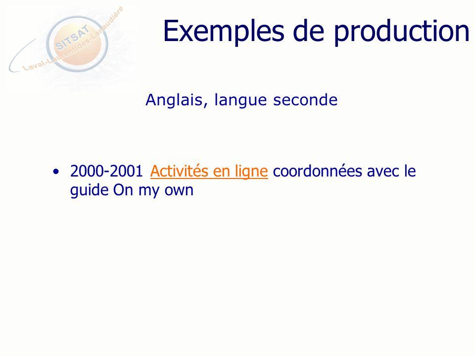 Exemples de production 2000-2001 Activités en ligne coordonnées avec le guide On my ownActivités en ligne Anglais, langue seconde