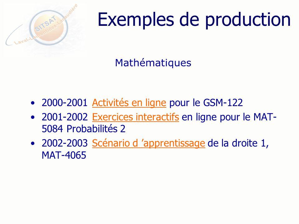 Exemples de production 2000-2001 Activités en ligne pour le GSM-122Activités en ligne 2001-2002 Exercices interactifs en ligne pour le MAT- 5084 Probabilités 2Exercices interactifs 2002-2003 Scénario d apprentissage de la droite 1, MAT-4065Scénario d apprentissage Mathématiques
