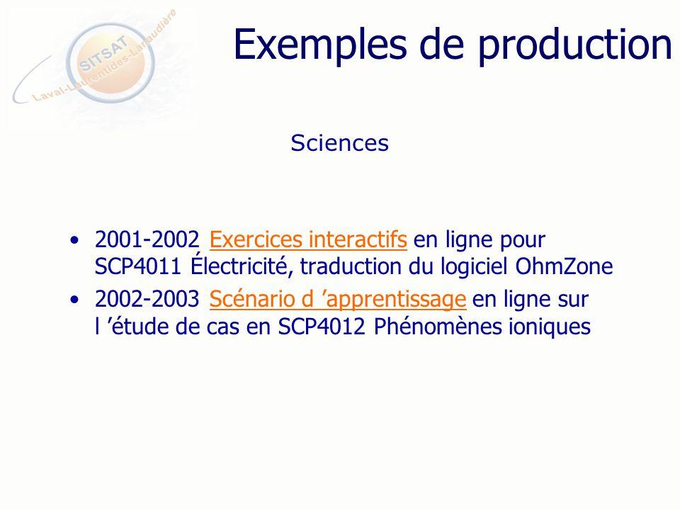Exemples de production 2001-2002 Exercices interactifs en ligne pour SCP4011 Électricité, traduction du logiciel OhmZoneExercices interactifs 2002-2003 Scénario d apprentissage en ligne sur l étude de cas en SCP4012 Phénomènes ioniquesScénario d apprentissage Sciences
