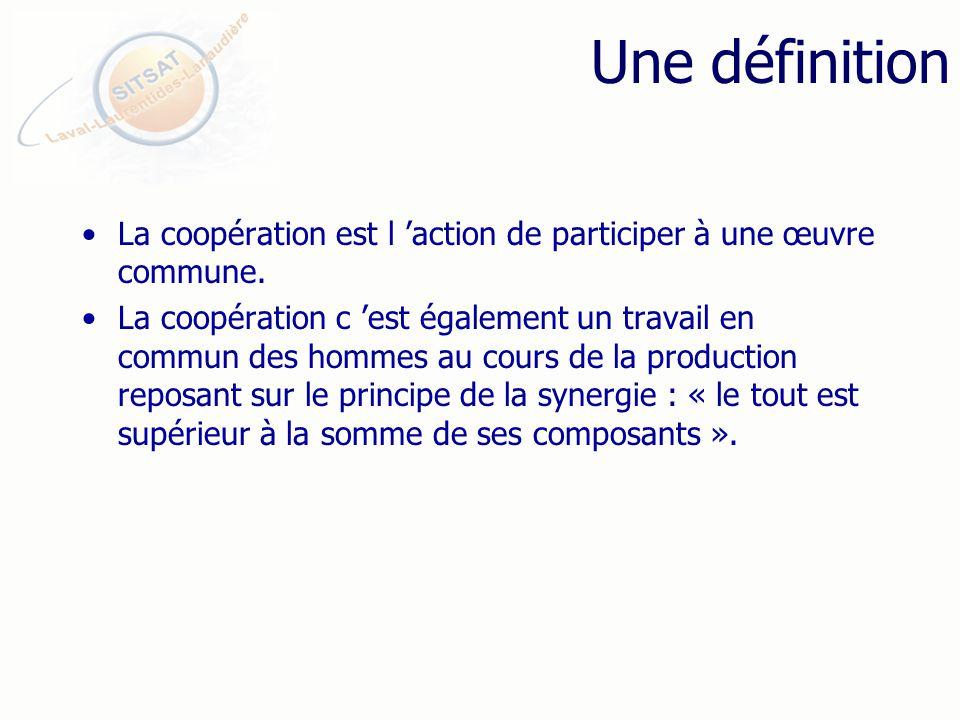 Une définition La coopération est l action de participer à une œuvre commune.