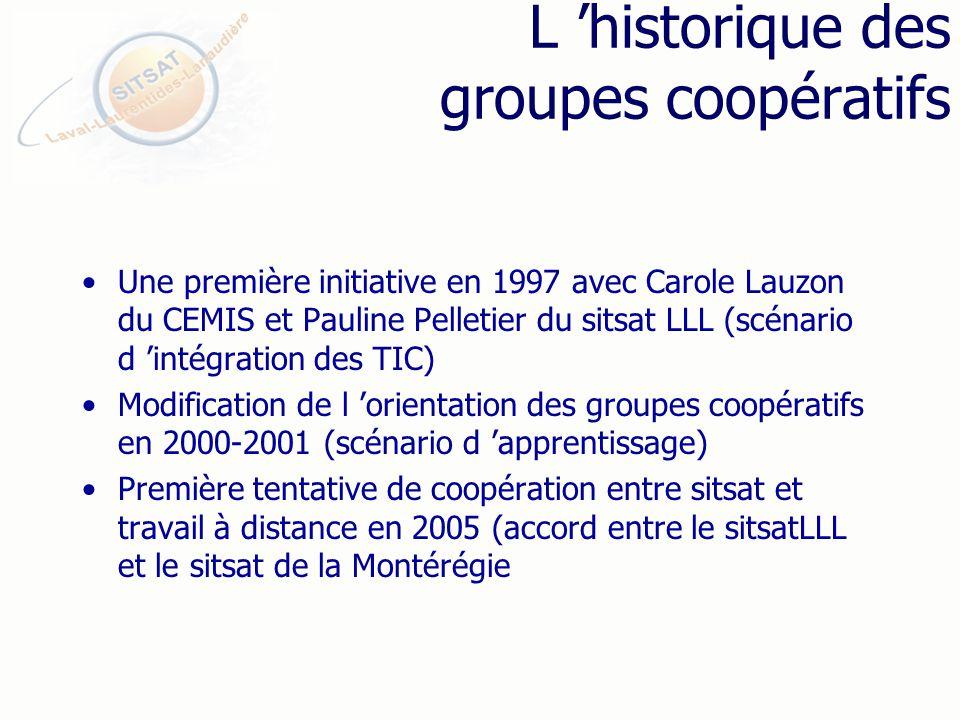 L historique des groupes coopératifs Une première initiative en 1997 avec Carole Lauzon du CEMIS et Pauline Pelletier du sitsat LLL (scénario d intégration des TIC) Modification de l orientation des groupes coopératifs en 2000-2001 (scénario d apprentissage) Première tentative de coopération entre sitsat et travail à distance en 2005 (accord entre le sitsatLLL et le sitsat de la Montérégie