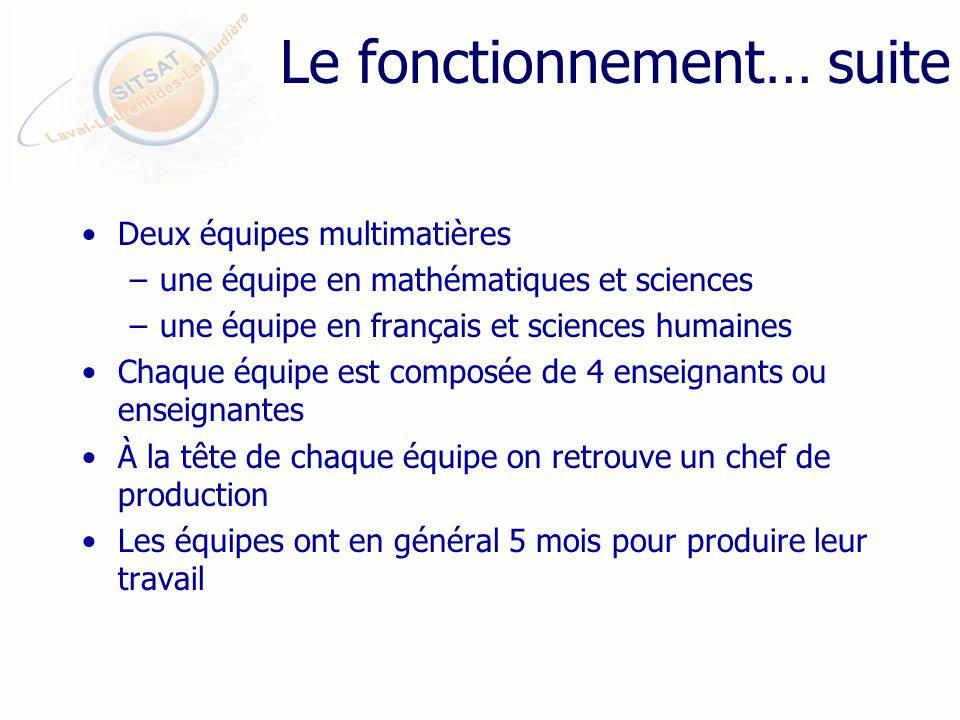 Le fonctionnement… suite Deux équipes multimatières –une équipe en mathématiques et sciences –une équipe en français et sciences humaines Chaque équipe est composée de 4 enseignants ou enseignantes À la tête de chaque équipe on retrouve un chef de production Les équipes ont en général 5 mois pour produire leur travail