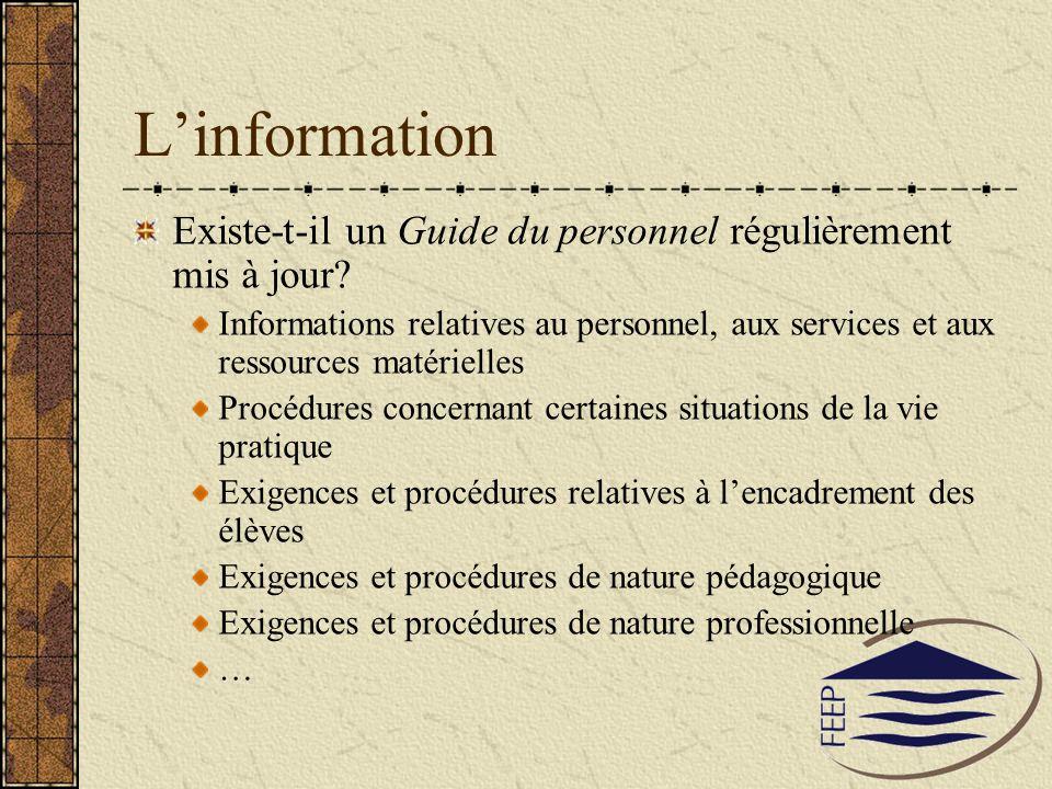 Linformation Existe-t-il un Guide du personnel régulièrement mis à jour? Informations relatives au personnel, aux services et aux ressources matériell