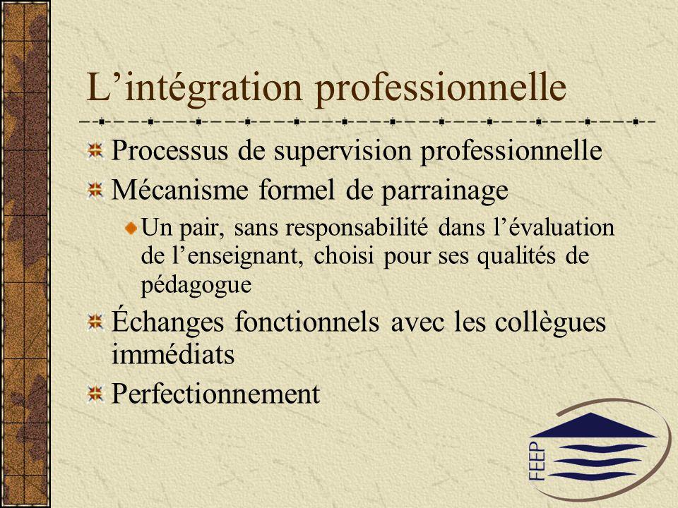 Lintégration professionnelle Processus de supervision professionnelle Mécanisme formel de parrainage Un pair, sans responsabilité dans lévaluation de