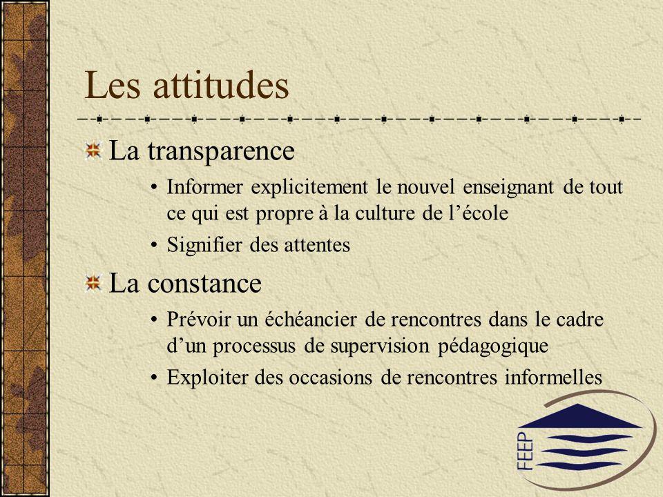 Les attitudes La transparence Informer explicitement le nouvel enseignant de tout ce qui est propre à la culture de lécole Signifier des attentes La c