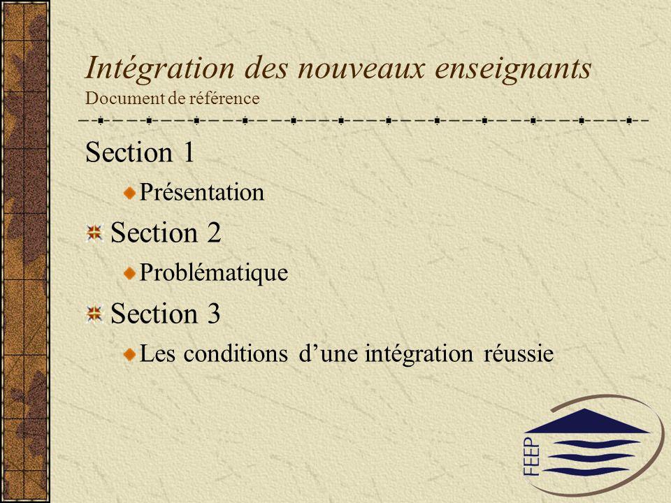 Intégration des nouveaux enseignants Document de référence Section 1 Présentation Section 2 Problématique Section 3 Les conditions dune intégration ré