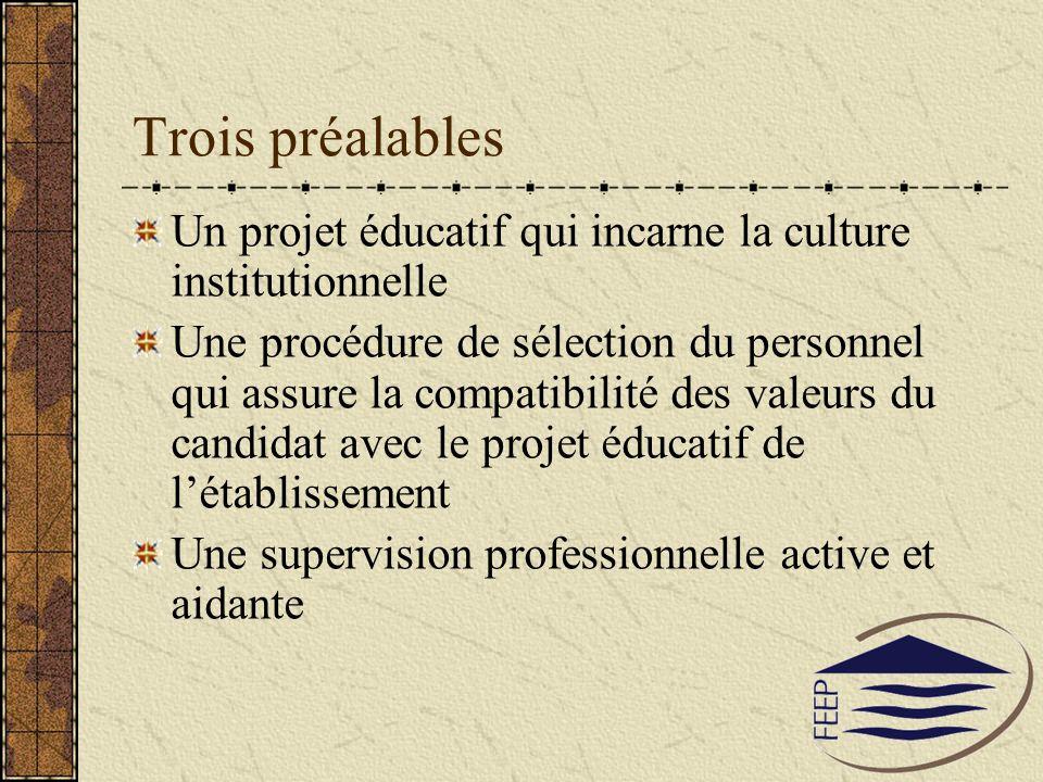 Trois préalables Un projet éducatif qui incarne la culture institutionnelle Une procédure de sélection du personnel qui assure la compatibilité des va