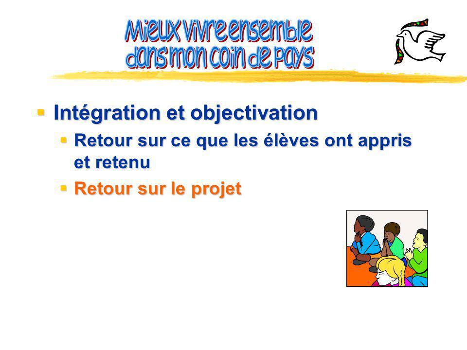 Intégration et objectivation Intégration et objectivation Retour sur ce que les élèves ont appris et retenu Retour sur ce que les élèves ont appris et retenu Retour sur le projet Retour sur le projet