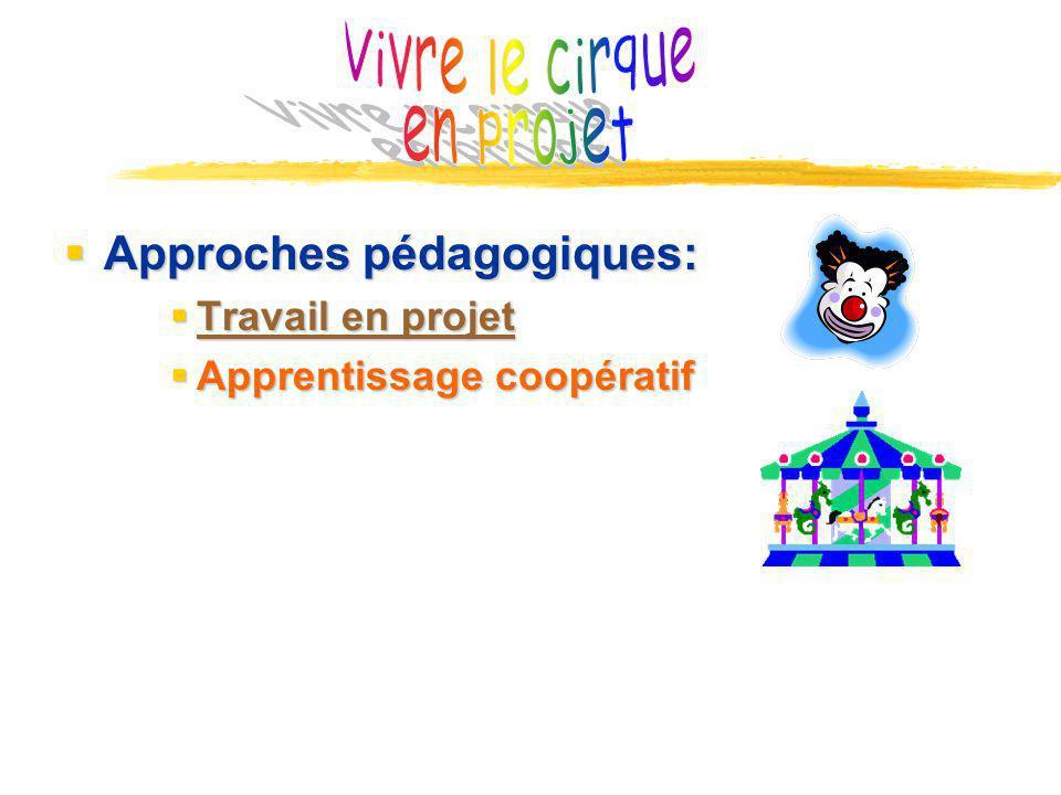 Approches pédagogiques: Approches pédagogiques: Travail en projet Travail en projet Travail en projet Travail en projet Apprentissage coopératif Apprentissage coopératif