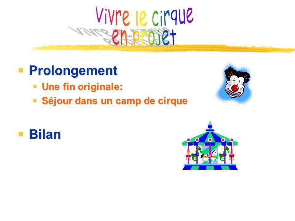 Prolongement Prolongement Une fin originale: Une fin originale: Séjour dans un camp de cirque Séjour dans un camp de cirque Bilan Bilan