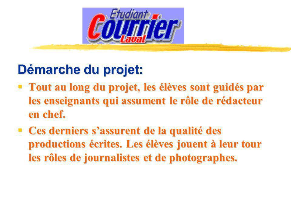 Démarche du projet: Tout au long du projet, les élèves sont guidés par les enseignants qui assument le rôle de rédacteur en chef.