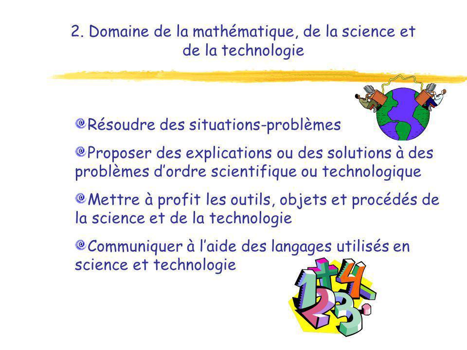 2. Domaine de la mathématique, de la science et de la technologie Résoudre des situations-problèmes Proposer des explications ou des solutions à des p