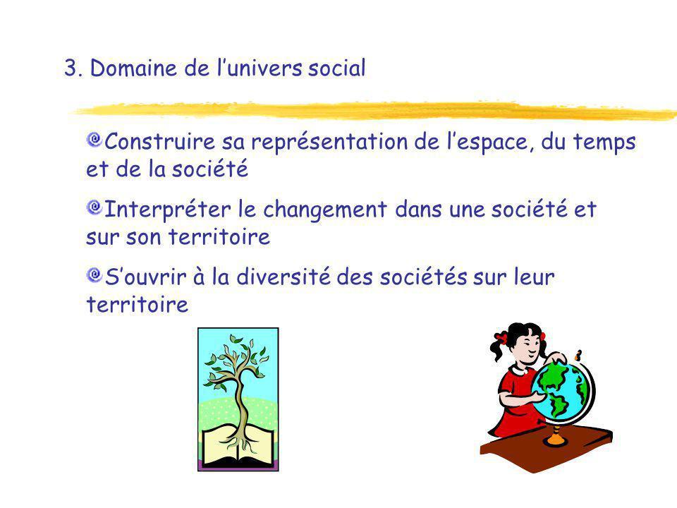 3. Domaine de lunivers social Construire sa représentation de lespace, du temps et de la société Interpréter le changement dans une société et sur son