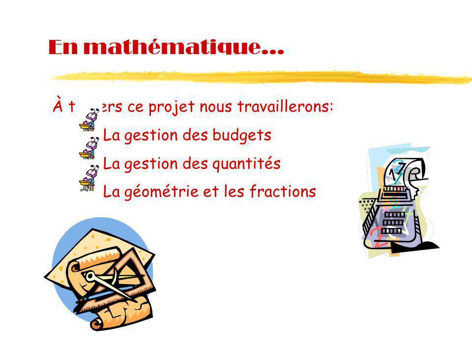 En mathématique… À travers ce projet nous travaillerons: La gestion des budgets La gestion des quantités La géométrie et les fractions