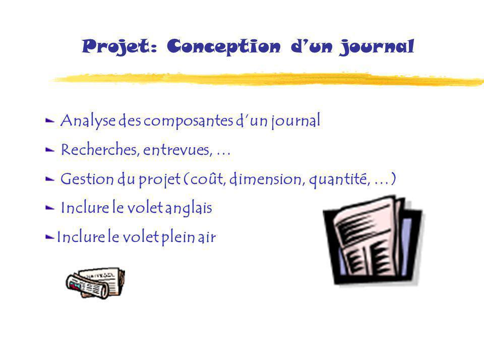 Projet: Conception dun journal Analyse des composantes dun journal Recherches, entrevues, … Gestion du projet (coût, dimension, quantité, …) Inclure le volet anglais Inclure le volet plein air