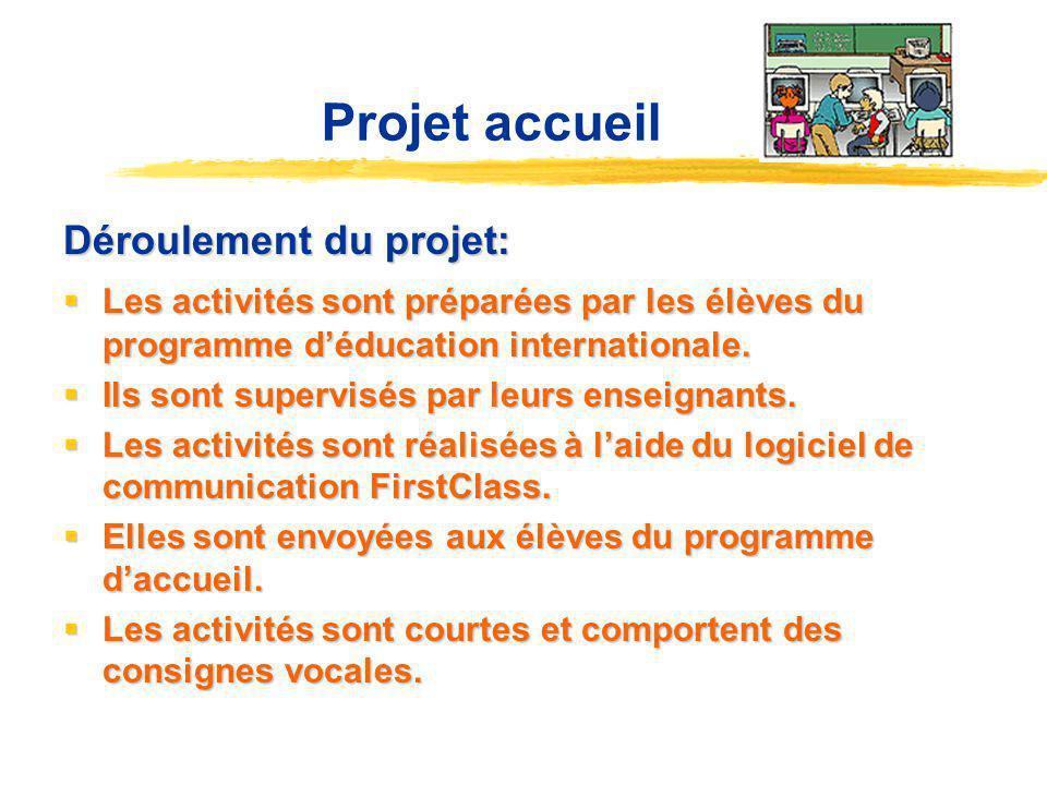 Projet accueil Déroulement du projet: Les activités sont préparées par les élèves du programme déducation internationale.