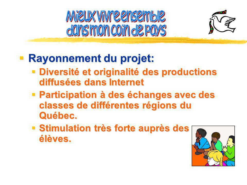 Rayonnement du projet: Rayonnement du projet: Diversité et originalité des productions diffusées dans Internet Diversité et originalité des productions diffusées dans Internet Participation à des échanges avec des classes de différentes régions du Québec.