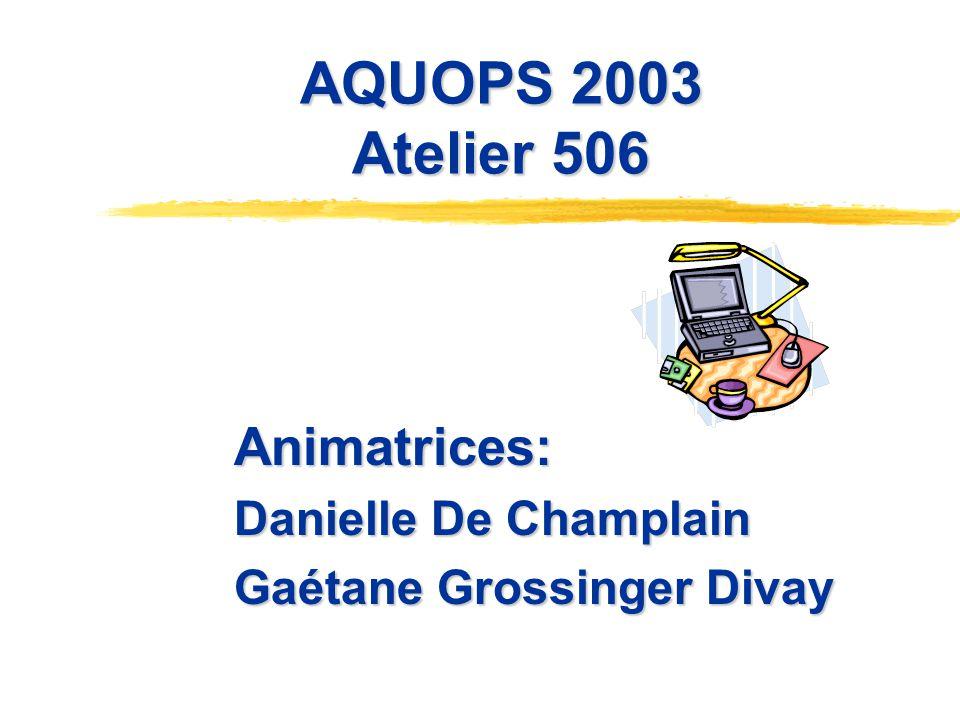 AQUOPS 2003 Atelier 506 Animatrices: Danielle De Champlain Gaétane Grossinger Divay