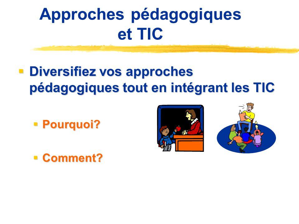 Approches pédagogiques et TIC Diversifiez vos approches pédagogiques tout en intégrant les TIC Diversifiez vos approches pédagogiques tout en intégrant les TIC Pourquoi.