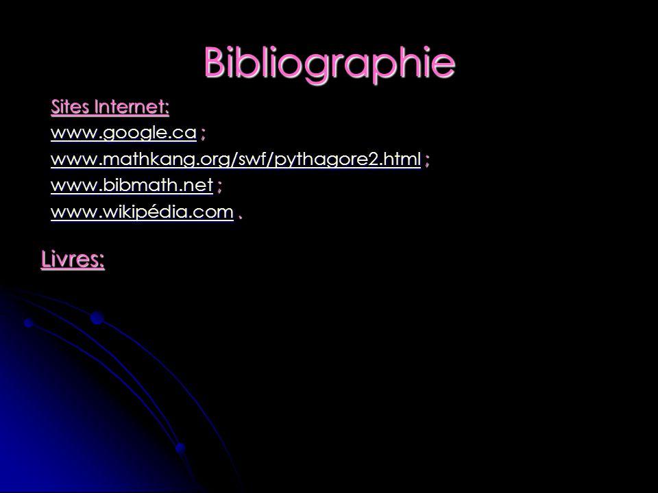 Bibliographie Sites Internet: www.google.cawww.google.ca ; www.google.ca www.mathkang.org/swf/pythagore2.htmlwww.mathkang.org/swf/pythagore2.html ; ww