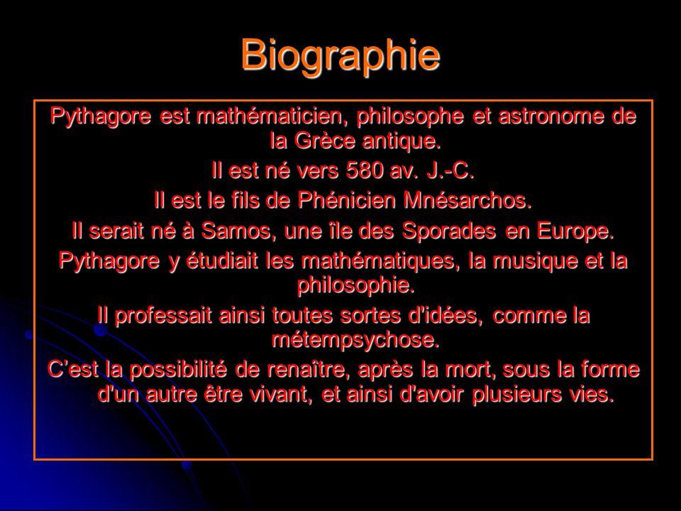 BiographiePythagore est mathématicien, philosophe et astronome de la Grèce antique. Il est né vers 580 av. J.-C. Il est le fils de Phénicien Mnésarcho