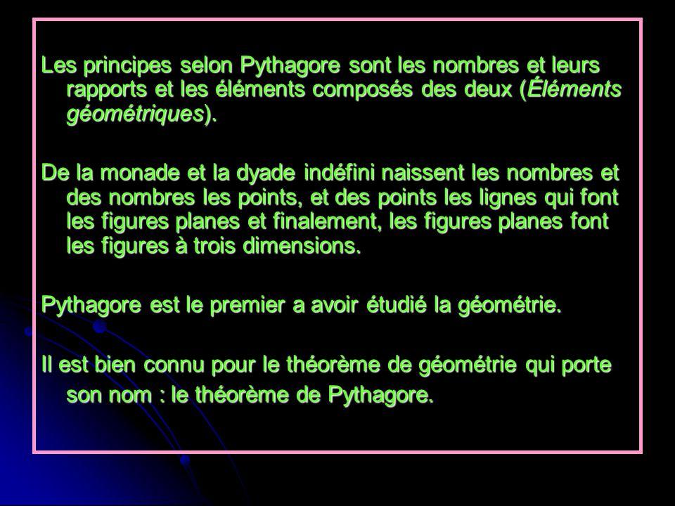 Les principes selon Pythagore sont les nombres et leurs rapports et les éléments composés des deux (Éléments géométriques). De la monade et la dyade i