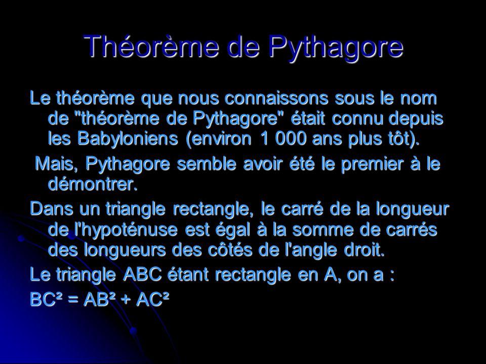 Théorème de Pythagore Le théorème que nous connaissons sous le nom de