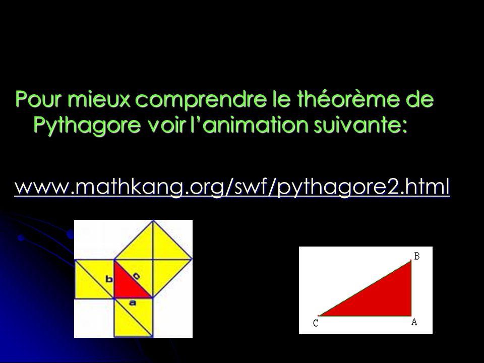 Pour mieux comprendre le théorème de Pythagore voir lanimation suivante: www.mathkang.org/swf/pythagore2.html