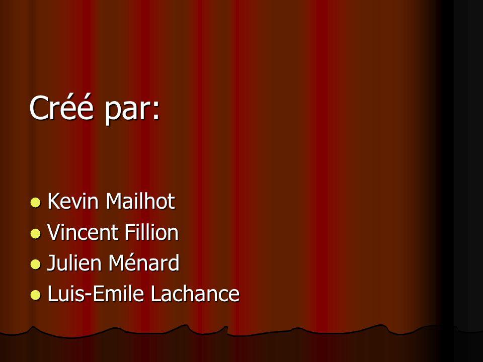 Créé par: Kevin Mailhot Vincent Fillion Julien Ménard Luis-Emile Lachance