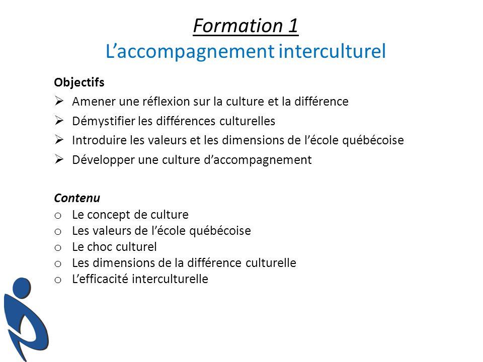 Formations offertes spécifiquement pour les enseignants dimmigration récente Rencontre de bienvenue Formation 1 (1/2 journée) L accompagnement interculturel Formation 2 (1 journée) Pour une intervention efficace en classe Formation 3 (1/2 journée) Volet 1 : La jeunesse québécoise Formation 3 (1/2 journée) Volet 2 : La pédagogie à l école québécoise