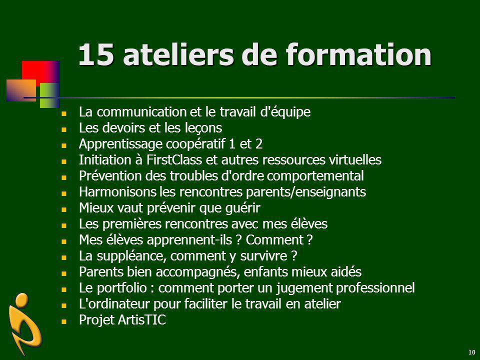10 15 ateliers de formation La communication et le travail d'équipe Les devoirs et les leçons Apprentissage coopératif 1 et 2 Initiation à FirstClass