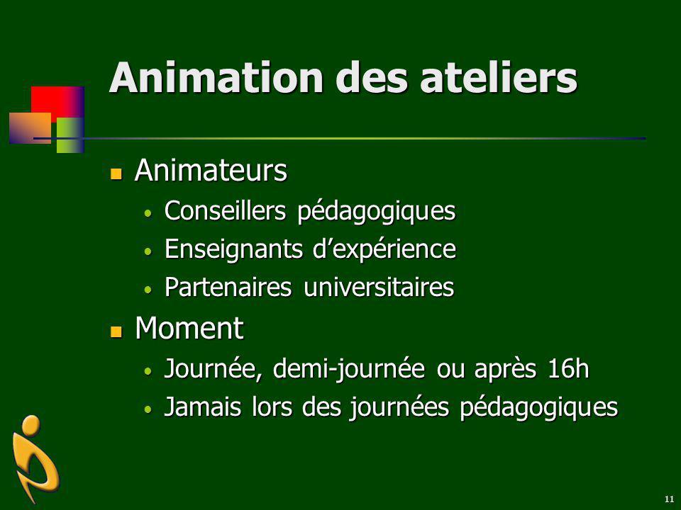 11 Animation des ateliers Animateurs Animateurs Conseillers pédagogiques Conseillers pédagogiques Enseignants dexpérience Enseignants dexpérience Part