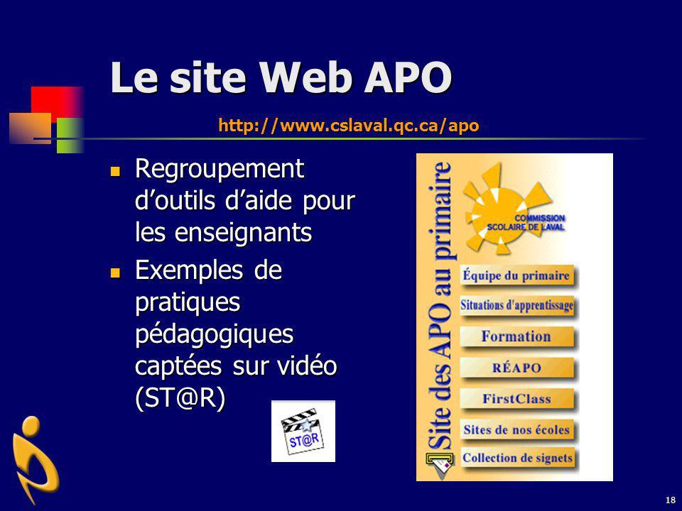 18 Le site Web APO Regroupement doutils daide pour les enseignants Regroupement doutils daide pour les enseignants Exemples de pratiques pédagogiques