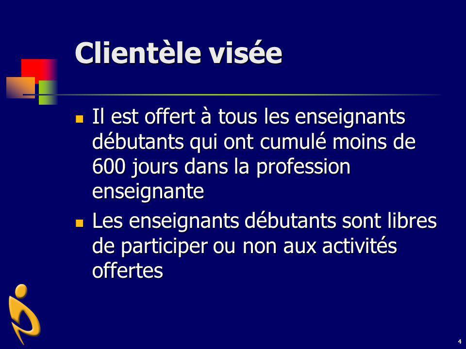 4 Clientèle visée Il est offert à tous les enseignants débutants qui ont cumulé moins de 600 jours dans la profession enseignante Il est offert à tous
